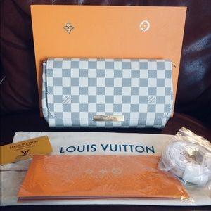 LOUIS VUITTON Damier Azure Crossbody Clutch Bag
